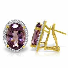 Genuine Amethysts Oval Gemstones & Diamonds French Clip Earrings 14K. Solid Gold