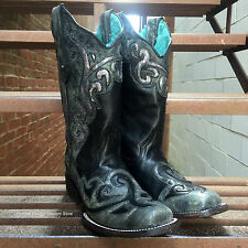 LADIES CORRAL CHARCOAL/BLACK BOOT W/SILVER SEQUIN LASER INLAY SQUARE TOE C1179