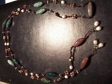 Greenpink stones with Fresh Water Pearls the stone is a type of Rhodonite