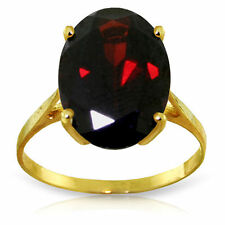 Genuine Garnet Oval Cut Gemstone Solitaire Ring 14K Yellow, White or Rose Gold