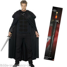 Jon Snow Costume FUR Cape Top & Free SPADA Gioco di THRONES MEDIEVALE COSTUME
