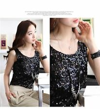 New Women Shiny Sequin Top Tank Round Neck Sleeveless Blouse Bling Vest T-Shirt