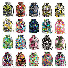 VERA BRADLEY Ditty Bag Lined Drawstring Cinch Everything Sack Multi Colors NWT