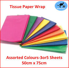Quality Coloured Tissue Paper Gift Wrap Sheets 50x75cm Assorted Colours 3 or 5pk