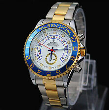 Men's Luxury Wrist Watch Gold with Silver Stainlesssteel Date High Quality Watch