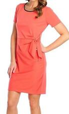 NEW Cassandra Stretch Knit Short Sleeved Faux Leather Trim Tie Detailed Dress