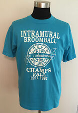 Vtg Intramural Broomball Champions 1991-1992 Turquoise T Shirt Mens XL Fits L