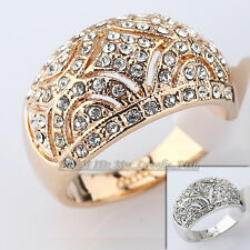 Fashion Rhinestone Hollow Band Ring 18KGP Crystal Size 5.5-9