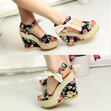 Women Bowknot Open Toe Pump Floral High Heel Shoes Wedge Platform Sandals