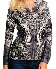 NEW One World Printed Knit Long Sleeved Zip Front Hooded Sweater / Sweatshirt