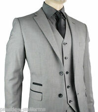 Men's 3 Piece Grey Slim Fit Suit For Work Office Wedding Party Or Prom