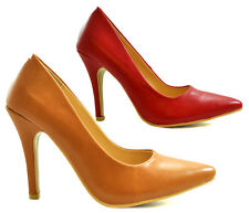 Ladies Womens Red Tan Faux Leather Court Shoes Mid High Heel Casual Work Size