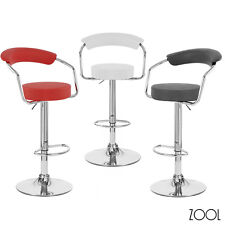 NEW! CHROME/LEATHER ADJUSTABLE HEIGHT SWIVEL BARSTOOL - BAR/COUNTER STOOL - ZOOL