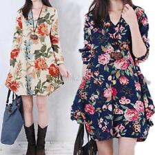 Womens Floral Linen Maternity V Neck Long Sleeve Loose Pregnant  Mini Dress