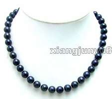 "SALE High luster Big 9-10mm Black Natural freshwater Pearl 17"" necklace-nec5434"