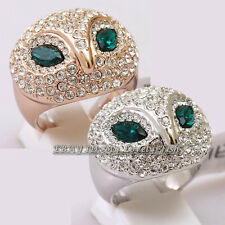 A1-R3011 Fashion Rhinestone Gorgeous Owl Ring 18KGP Crystal Size 5.5-9