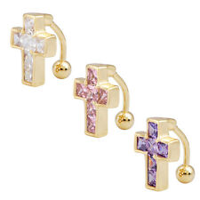 18K Gold Plated 14G Navel Belly Button Ring Crystal Cross Belly Piercing Reverse