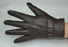 Men's Brown Genuine Sheep Leather Winter Warm Driving Gloves One Buckle M-006