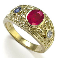 Men's 14k Yellow Gold Three-Stones Genuine Ceylon Sapphire &  Ruby Ring
