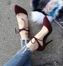 Fashion Sexy Women's Ankle Strap High Heels Stiletto Pumps Suede  Work Shoes