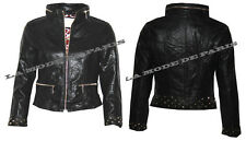 F33 WOMENS LADIES FAUX LEATHER PVC BOMBER BIKER STUDDED CROPPED JACKET ZIP COAT