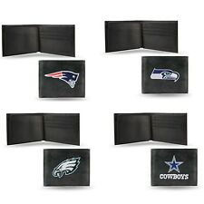 NFL Team Embroidered Leather Billfold Bi-fold Wallet New ∗ Pick your Team ∗