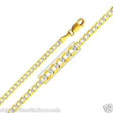 Solid 14k Yellow Gold 2.7mm Diamond Cut Cuban Chain 16 18 20 22 24 26 Inches