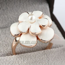Fashion White Pearl Flower Glaze Ring 18KGP Crystal Size 5.5-9