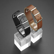 Quality Soft Black & Brown Leather Watch Strap Band 18mm 20mm 22mm  E