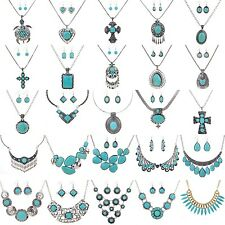 Women Chunky Charm Pendant Chain Crystal Turquoise Statement Bib Necklace
