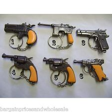 6 Design To Choose Die Cast Novelty Miniature Solid Metal Gun Keyrings Cap Gun