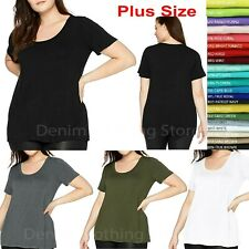 Women's Plus Size Basic Short Sleeve Scoop Neck T-Shirt Top Stretch Fitted 1~3x