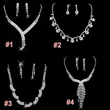 New Prom Wedding Bridal Pageant Crystal Necklace Earrings Fashion Jewelry Set
