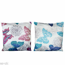 Butterfly Design Cushion Covers 18'' X 18'' Blue Red