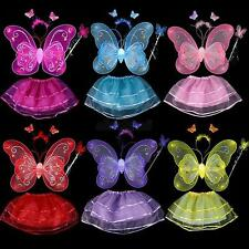 4pcs Cosplay Costume Fairy Girl Kid Luminous Butterfly Wing Wand Headband Dress