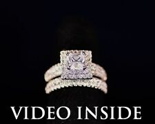 Beauty*Princess Cut 2.CT 2Pcs Engagement Diamond Ring Platinum 22KT Silver ITALY