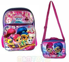 "Disney Shimmer and Shine 16"" Large School Backpack, Lunch Bag Box"