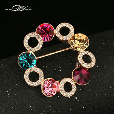Multi-color Crystal Flower 18KRGP Vintage Pins and Brooches Jewelry For Women