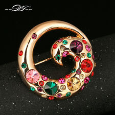 Unique Bird 18KRGP Vintage Crystal Pins and Brooches Fashion Jewelry For Women