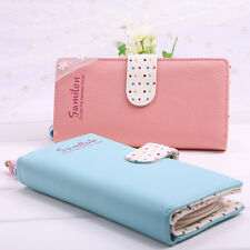 Women Long Purse Clutch Bifold Faux Leather Wallet Zip Card Holder Candy Color