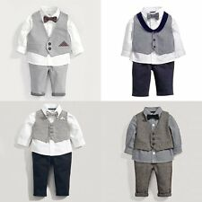 Baby Boy Formal Wedding Pageboy Shirt+Bowtie+Waistcoat+Pants Suit Outfit Set