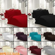 Plain Duvet Cover with Pillow Case Quilt Cover Bed Set Single Double King
