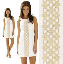 $198 Lilly Pulitzer Jacqueline Resort White metallic Gold Lace Shift Dress