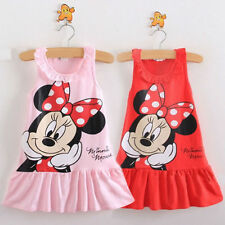 Cute Baby Girls Minnie Mouse Dress Kids Cartoon Tops Clothes Party Dress 1-7YR