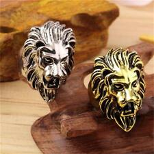 Gold Silver Stainless Steel Lion's Head Ring Men's Cool Rings US Size 8 9 10