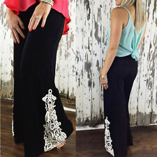New Women lace Floral Casual Wide Leg Long Stretch Pants Loose Palazzo Trousers