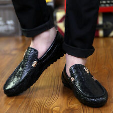 New Men's Comfy Leather Casual Slip On Loafer Shoes Moccasins Driving Shoes EX8