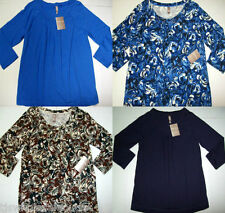 White Stag Regular Plus Solid Floral Career Pleated 3/4 Sleeve Knit Top S to XXL