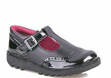 Kickers Womens Black Kick T Brogue Patent Leather Back To School Shoes