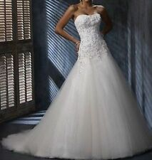 New White/Ivory Lace Bridal Gown Wedding Dress Stock Size 6 8 10 12 14 16